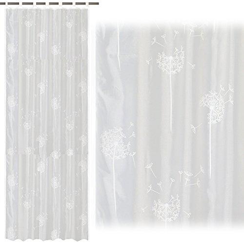 JEMIDI Schal mit Schlaufen und Gardinenband- Pusteblume 140cm x 245cm Universalband / Kräuselband Aufhängung Vorhang Gardine Fenster Deko Store