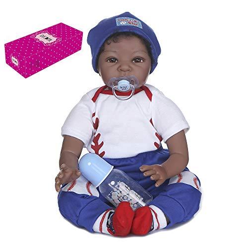 Duotar Boneca Reborn,reborn baby dolls de 22 polegadas 55 cm de silicone suave toque natural baby dolls de pano corpo crianças acompanham boneca presentes de aniversário com roupa branca e azul