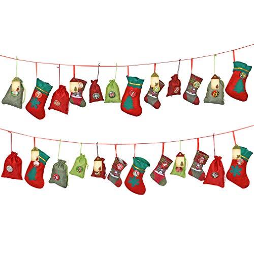 KOHMUI Adventskalender zum Befüllen, 24 Weihnachtskalender zum Selbstbefüllen Aufhängen, Jutesäckchen, Filz Säckchen, 2.5 m Kalender Schnur, 1-24 Zahlen Boden für DIY Weihnachten Adventkalender Kette