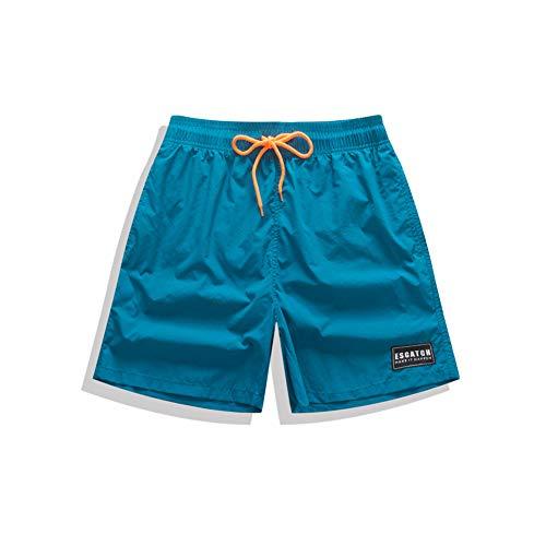 WANPUL Bañador Hombre Bañadores Secado Rápido Boardshorts Deporte Pantalon Corto Playa Surf Bañadores de Natación Azul-1 L