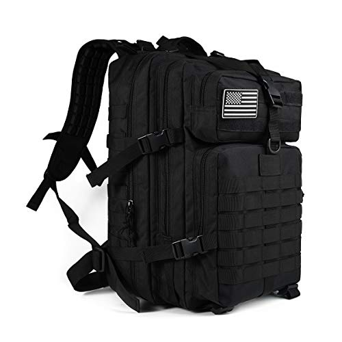Heran Military Tactical Backpack 45L Large Capacity Army 3 Day Assault Pack Bag Rucksack for Hunting, Trekking, Camping and Other Outdoor Activities,Black