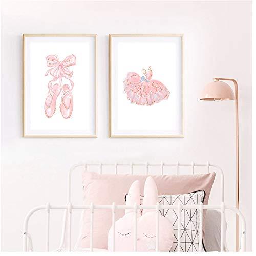 YangMENGDAN druk op canvas ballerina poster ballerina kunst roze balletschoen balletschoenen canvas schilderij afbeelding ballerina slaapkamer decor ballerina kinderkamer print 50 x 70 cm geen lijst