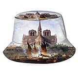 Grafffery Párizsi Notre Dame Bucket Boonie Fishing Hat Fisherman Cap Sunhat Uv Protection Travel Summer Caps for Adult Women Men