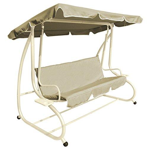 VERDELOOK Positano, Dondolo a 3 posti reclinabile con tettuccio, Écru, per Esterno Giardino