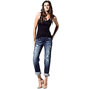 Women's Stretch Distressed Midrise Boyfriend Premium Jeans