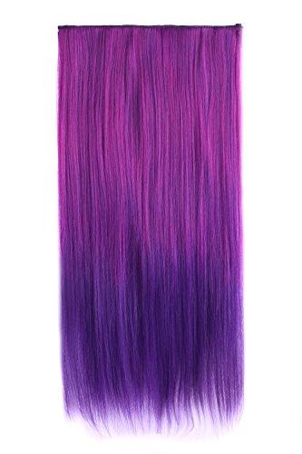 MapofBeauty 24 Pouce/60cm Extension De cheveux De Belle Couleur Mélangée Longue Ligne 5 Clip (Brillant Violet+Rose Rouge)