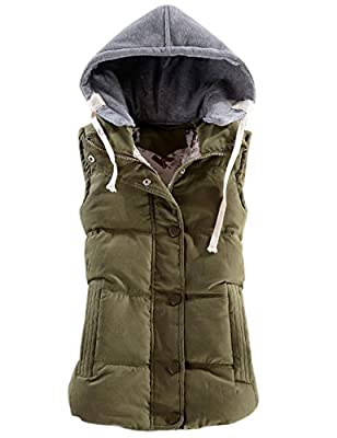 Yeokou Women's Slim Sleeveless Quilted Removable Hooded Winter Puffer Vest Coat Army Green by