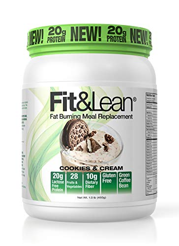 Fit & Lean Fat Burning Meal Replacement, Cookies & Cream, 1 lb, Brown