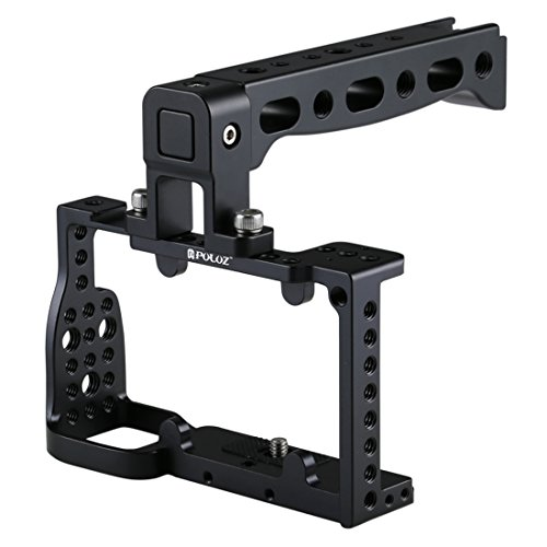 Video Live Bracket Camera Cage Handle Stabilizer Base plaat met op en neer Adjustable Rail Rod, for Sony a6300 / A6000 (zwart) (Color : Black)