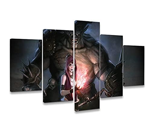 CHDBB Póster De 5 Paneles En El Personaje del Juego Dragon Age: Origins Pintura En Lienzo Arte De La Pared Pintura para El Hogar Sala De Estar Oficina Decoración Moderna Regalo 100 * 50 Cm