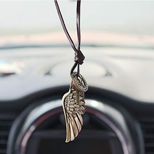 INEBIZ Engelsflügel, Retro-Stil, gewebtes Rindsleder, Auto-Charm, Innenspiegel, Dekoration, hängender Anhänger, modische Halskette