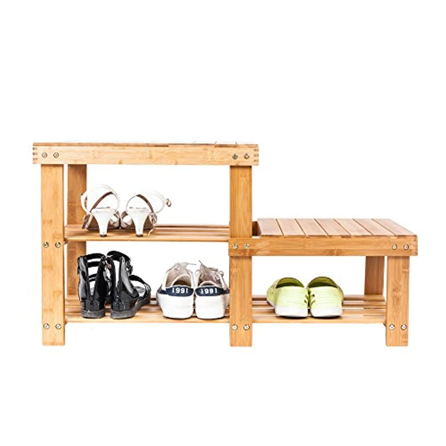 Bamboo Shoes Rack Bench 3 Grid Shoe Storage Chair Entryway Organizer Shelf Wood Color