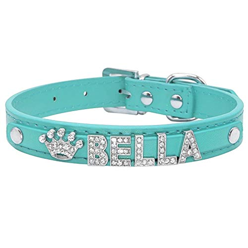 Double-sweet Bling Rhinestone Cachorro Collar personalizado Perros Pequeños Chihuahua Collar Personalizado Colgante Nombre Charms Mascotas Accesorios Azul-M