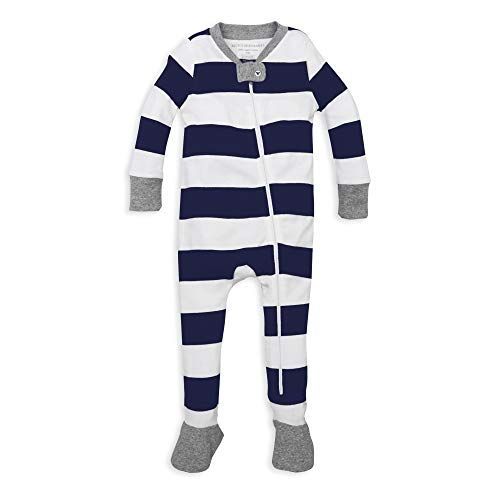 Burt's Bees Baby Boys' Organic Stripe Zip Front Non-Slip Footed Sleeper Pajamas, Midnight Rugby Stripe, 24 Months