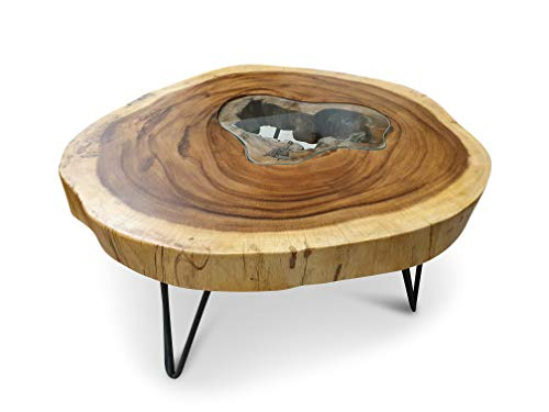 mesa de centro de madera del tronco de una  acacia