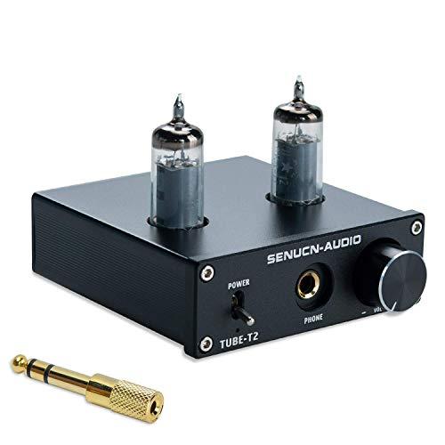 SUCA Audio Tube-T2 Headphone Amplifier, Low Ground Noise 6K4 Vacuum Tube Amplifier Buffer Mini Hi-Fi Stereo Amp, RCA & 3.5mm AUX Input, Compatible 6.35mm to 3.5mm Headphone Jack