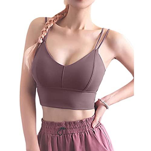 Sujetador de yoga para mujer, sexy, cuello en V, color sólido, cómodo, gimnasio, con correas de hombro dobles