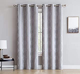 LinenZone Roberta - Total Blackout Grommet Window Curtains - Blocks 100% Sunlight - 4 Layers High Density & Noise Reduction Fabric - Energy Efficient (2 Panels - 37