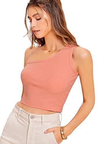 SOLY HUX Camisetas sin Mangas para Mujer Suave Casual, Top Tank Tejido de Canalé con un Hombro Rosa Coral M