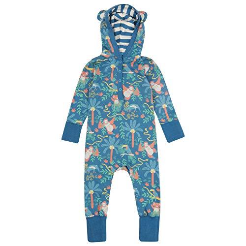 Piccalilly Barboteuse à capuche pour bébé + tout-petit, jersey doux, coton biologique, imprimé forêt tropicale unisexe pour filles et garçons - Bleu - 6-12 mois