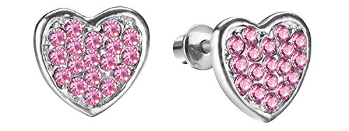 Girls Screwback Pink Earrings, Heart Cubic Zirconia, Pink Screw Back Earrings for Girls with Stainless Steel Post (Pink)