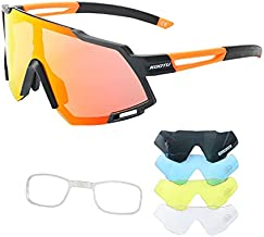 SAVADECK Cycling Sunglasses, Polarized Bike Glasses with 4 Interchangeable Lenses, Sports Glasses for Women and Men, Outdoor Windproof Eyewear, Baseball Running Fishing Golf
