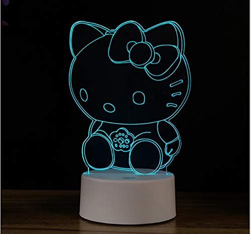Hello Kitty 3d Night Light Regalo De Cumpleaños Tocable Dormitorio Lámpara De Mesa Colorida Con Alimentación Usb