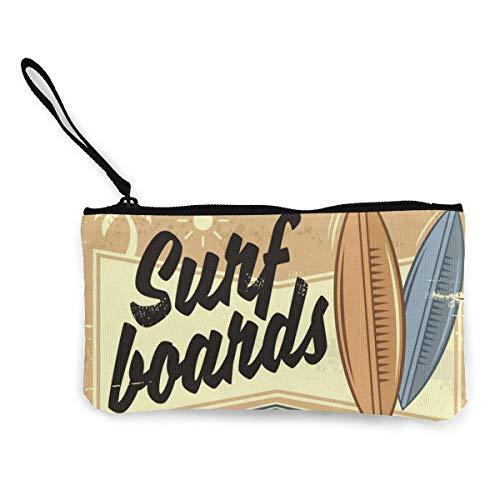 Alquiler de tablas de surf Diseño de letrero de playa retro Lindo monedero de lona con de con cremallera Bolsa de maquillaje con correa para la muñeca Bolsa de teléfono en efectivo 8.5 X 4.5 pulgadas