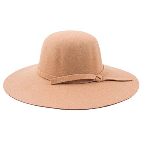 Sombrero de ala ancha, de Chendongdong. De felpa, estilo vintage. Tipo pamela Amarillo caqui Talla única