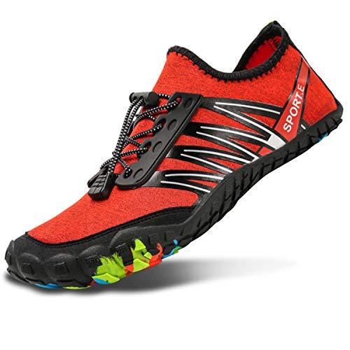 L-RUN Women Water Shoes Mens Aqua Shoes for Swim Red Women 11 M US, Men 9 M US
