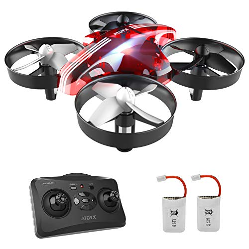 ATOYX Mini Drone, AT-66 RC Drone Kids 3D Flips, Headless Mode, Altitude Stabilization, 3 Speed Modes, 4 6-Axis Channels, 2 Batteries, Gift for Children and Beginners, Red