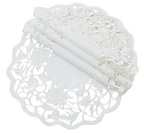 Xia Home Fashions Somerset Embroidered Cutwork Floral Doilies, 12-Inch Round, White, Set of 4