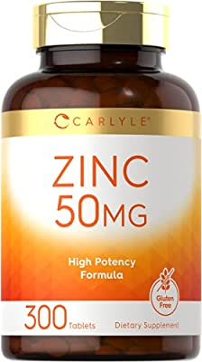 Zinc 50mg | 300 Tablets | Vegetarian, Non-GMO, and Gluten Free Supplement | Zinc Gluconate | High Potency Formula | by Carlyle