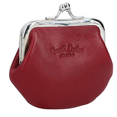 Gusti Portemonnaie Leder - Frida Leder mit Clipverschluss Klickverschluss Spangenportemonnaie Geldbörse Klein Rot