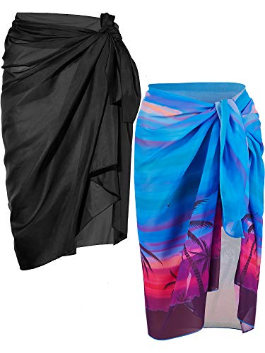 Chuangdi 2 Pieces Women Beach Wrap Sarong Cover Up Chiffon Swimsuit Wrap Skirts (Black and Blue Coconut Palm)