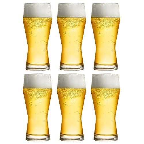 Libbey Bicchiere da Birra Pilsner - 400 ml / 40 cl - Set di 6 Pezzi - Formato Grande - Lavabile in Lavastoviglie - Prodotto in Europa
