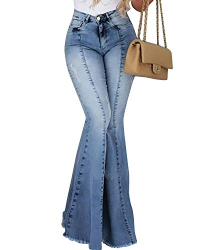 Yidarton Jeans Damen Jeanshosen Röhrenjeans Skinny Slim Fit Stretch Stylische Boyfriend Jeans Zerrissene Destroyed Jeans Hose mit Löchern Lässig (Hellblau-10, Small)