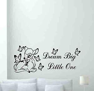 Bambi Disney Wall Decal Dream Big Little One Quote Cartoon Butterflies Poster Vinyl Sticker Kids Teen Boy Room Nursery Bedroom Wall Art Decor Mural 348xxx