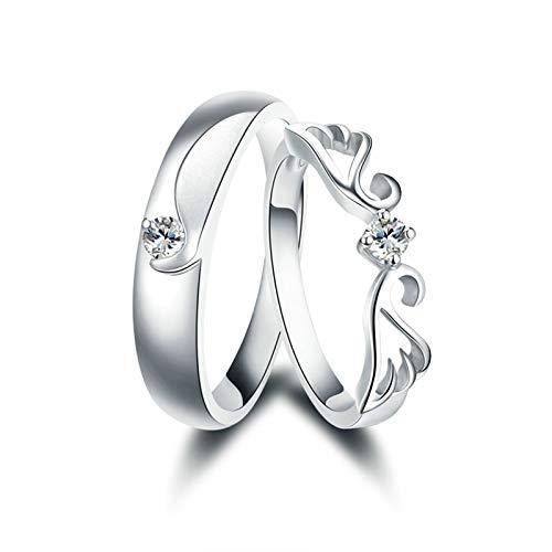 KnSam Anillo Oro Blanco de 18K, ala Forma Anillo de Bodas con Diamante Blanco 0.05ct, Mujer Talla 15 y Hombre Talla 21 (Precio por 2 Anillos)