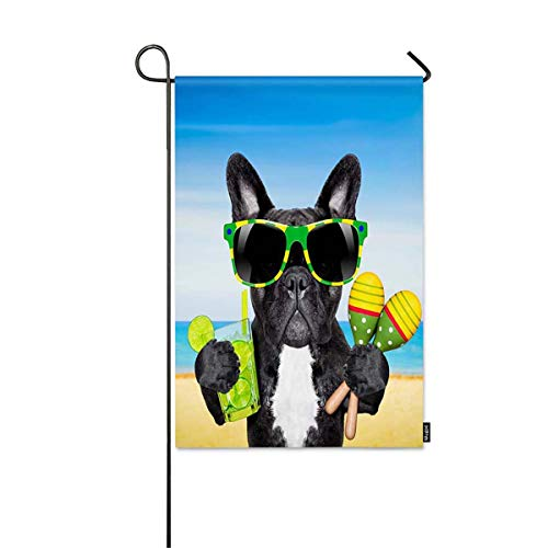 HEYXI Cool Dog Small Garden Flag Brazil French Bulldog Dog for Sunglasses Enjoying a Cocktail at The Beach on Summer Decorative Spring Summer Outdoor House Flag for Garden Yard Lawn 12' x 18'