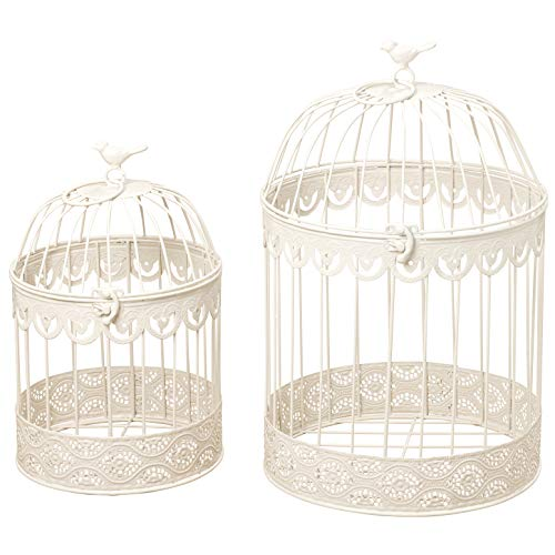 Farmers Market White Wire Bird Cages, Set of 2, Decorative, Table Top Centerpieces, For Florals, Candles and More, Metal, Handmade, Rustic Vintage Style, 11.75 and 15 Inches Tall
