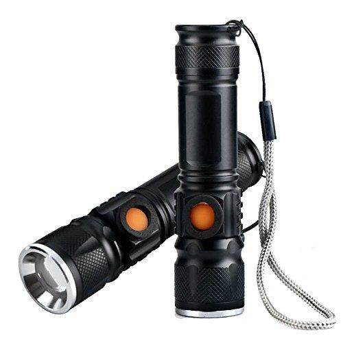 Ebilun LED Taschenlampe 2 Stück Q5 2000 Lumen Ultra Bright Portable Lampe USB Wiederaufladbare staubdicht Wasserbeständige/Anti rutschen für Camping/Reisen/Outdoor/Walking/Notfall/schwarz