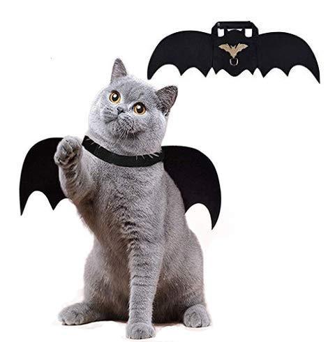 Yolococa kostüme für Katzen Fledermausflügel Schwarz Lustige Haustierkleidung Dress Up Zubehör für Hunde und Katzen Halloween Cosplay Cat Bat Wings