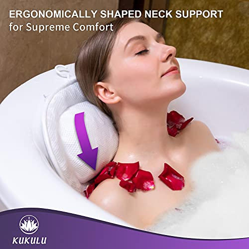 Bath Pillow   Bathtub Cushion for Neck, Head, Shoulder and Back Support   Jacuzzi Hot Tub Headrest and Bath Tub Pillow Rest   Bath Accessories   Luxury Spa Comfort …