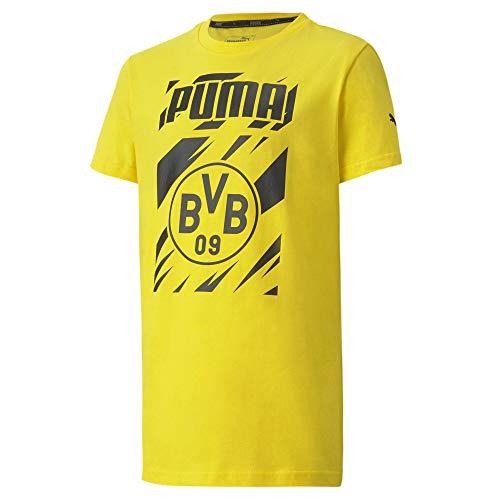 PUMA BVB Ftblcore Graphic tee Jr Camiseta, Unisex niños, Cyber Yellow Black, 110