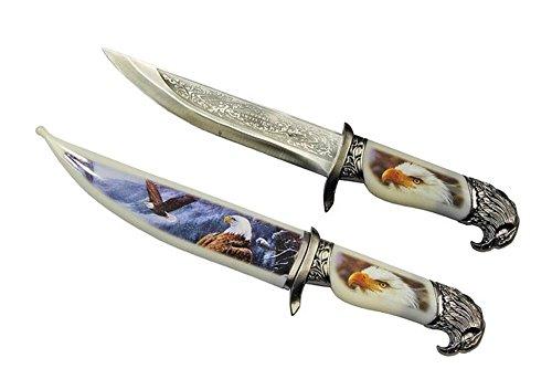 Messer Dolch Adlert Weißkopfseeadler mit verzierter Klinge und Griff