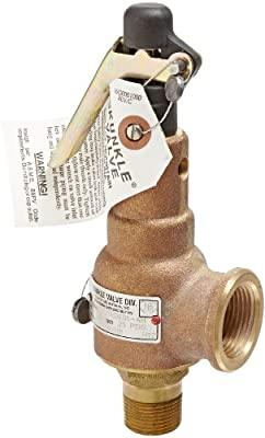 """Kunkle 6010EDE01-AM0025 Bronze ASME Safety Relief Valve for Steam, EPR Soft Seat, 25 Preset Pressure, 3/4"""" NPT Male Inlet x 1"""" NPT Female Outlet by Tyco Valves & Controls"""