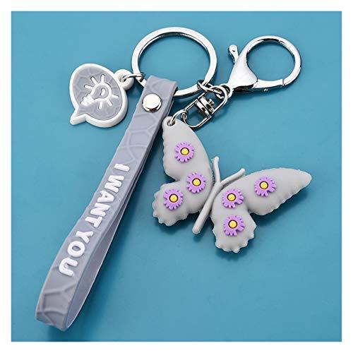 Djujiabh Keychain Keychain Soft Plastic 3D Doll Accessories Small Daisy Key Pendant School Bag Creative Butterfly Keychain (Color : Gray)