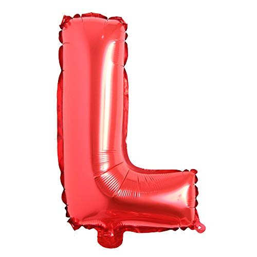 16' inch Single Red Alphabet Letter Number Balloons Aluminum Hanging Foil Film Balloon Wedding Birthday Party Decoration Banner Air Mylar Balloons (16 inch Red L)