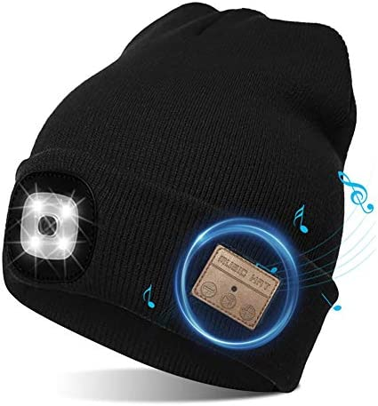 Pecenda Wireless Bluetooth Beanie Hat with 4 LED Headlamp Unisex Musical Cap USB Rechargeable product image